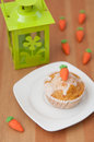Easter muffins with marzipan carrots Stock Photography