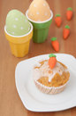Easter muffins with marzipan carrots Stock Photo