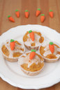 Easter muffins with marzipan carrots Stock Image