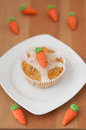 Easter muffins with marzipan carrots Stock Images