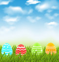 Easter natural landscape with traditional colorful eggs in grass