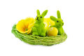 Easter nest decorated with eggs and bunny isolated on white background Royalty Free Stock Images