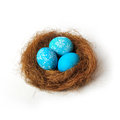 Easter nest over white background Stock Photography