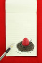 Easter notebook red easter egg nest blank notebook page Stock Photo