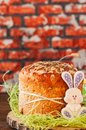 Easter orthodox sweet bread, cottage cheese kulich, colorful bun Royalty Free Stock Photo