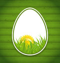 Easter paper sticker eggs on wooden background illustration Stock Images