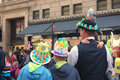 Easter parade and easter bonnet festival a family attends the in fifth avenue new york city Stock Images