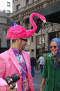 Easter parade and easter bonnet festival a man dressed as a flamingo participates in the in fifth avenue new york city Royalty Free Stock Photo