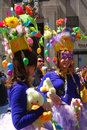 Easter parade and easter bonnet festival two young women participate in the in fifth avenue new york city Royalty Free Stock Photo