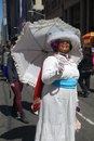 Easter parade and easter bonnet festival a woman in white participates in the in fifth avenue new york city Royalty Free Stock Photos
