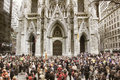 The Easter Parade in front of St. Patrick`s Cathedral on 5th avenue in New York City