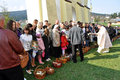 Easter parishioners of the orthodox church skhidnytsia ukraine april with basket with food celebration in Royalty Free Stock Photos