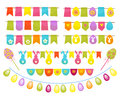Easter party decoration vector elements. Eggs garland ,tags,and egg tree isolated on white background. Royalty Free Stock Photo