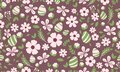 Easter pattern background, with simple leaf and flower drawing