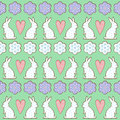 Easter pattern, card - bunny, flowers, hearts on mint green background.
