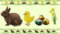 Easter pets chicken eggs bunny rabbit happy flower Royalty Free Stock Photos