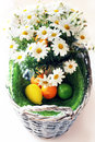Easter photo of basket with daisy flowers and eggs Stock Photos