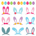 Easter photo booth props set bunny ears Royalty Free Stock Photo