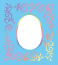 Easter photo frame halftone rainbow colored floral on blue background Royalty Free Stock Photography