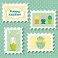 Easter postal stamps set Stock Photo