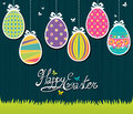 Easter postcard cute with colorful eggs Stock Images