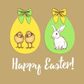 Easter poster with chiken, bunny and eggs Royalty Free Stock Photo