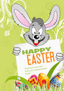 Easter Poster with Eggs, Rabbit and Sheet of Paper Stock Photos