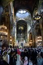 Easter prayer in the Cathedral of St. Vladimir in Kiev Royalty Free Stock Photo