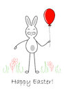 Easter rabbit with balloon on white background illustration Stock Image