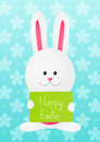 Easter rabbit on blue background floral Stock Images