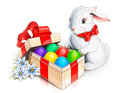 Easter rabbit bunny and box with eggs Royalty Free Stock Photos