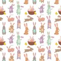 Easter rabbit character bunny seamless pattern background vector cute happy animal illustration. Royalty Free Stock Photo