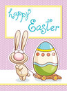 Easter rabbit character happy easter cute on the card Royalty Free Stock Image