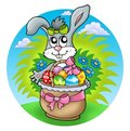 Easter rabbit with decorated eggs Stock Photography