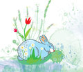 Easter rabbit with flowers background watercolor style card Stock Photos