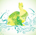 Easter Rabbit with green flowers Stock Photo