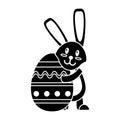 Easter rabbit hugging egg pictogram