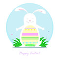 Easter rabbit merry painted wishes everyone a happy Royalty Free Stock Image