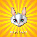 Easter rabbit muzzle greeting card with cute Royalty Free Stock Photo