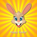 Easter rabbit muzzle greeting card with cute Royalty Free Stock Image