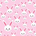 Easter rabbit seamless pattern on pink background