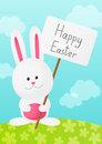 Easter rabbit on spring background with banner Royalty Free Stock Photo