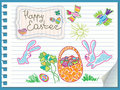 Easter rabbits are a basket of eggs. Vector card Royalty Free Stock Photography