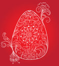 Easter red card with egg and floral ornament Stock Photo