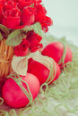 Easter red eggs with flower decorations Royalty Free Stock Images