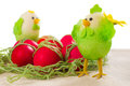 Easter red eggs with poults decorations Royalty Free Stock Photo