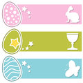 Easter retro eggs horizontal banners a collection of three with a bunny rabbit a chalice or cup and a butterfly on pink green and Royalty Free Stock Photos