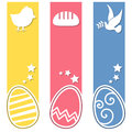 Easter retro eggs vertical banners a collection of three with a chick bread and a dove on yellow pink and blue background eps file Royalty Free Stock Image