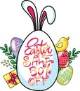 Easter sale banner with eggs and spring leaves gift rabbit. Vector illustration. Hand Drawn lettering