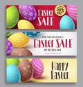 Easter sale and happy easter vector banner design set with colorful eggs elements Royalty Free Stock Photo